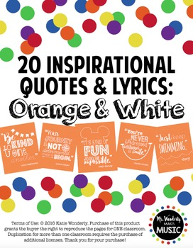 20 Inspirational Classroom Posters: Orange & White