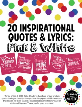 20 Inspirational Classroom Posters: Pink & White