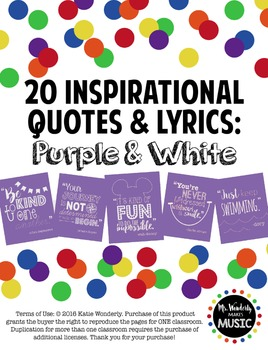 20 Inspirational Classroom Posters: Purple & White
