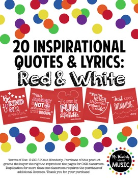 20 Inspirational Classroom Posters: Red & White