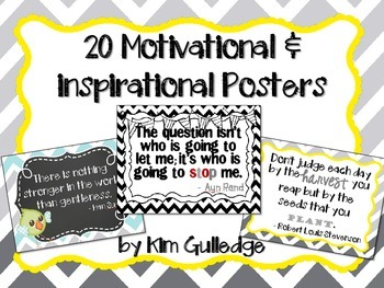 20 Inspirational and Motivational Posters Set #2 Chevron