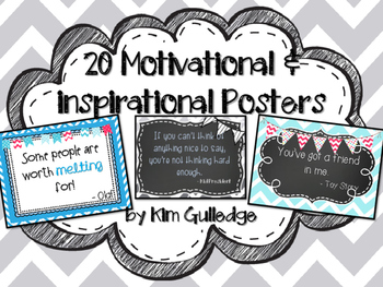 20 Inspirational and Motivational Posters Set #3 Chevron