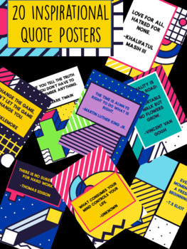 20 Inspirational & Motivational Quote Printable Posters- colorful, famous, 80s