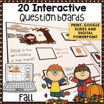 20 Interactive Fall WH Question boards. Autism. File Folders