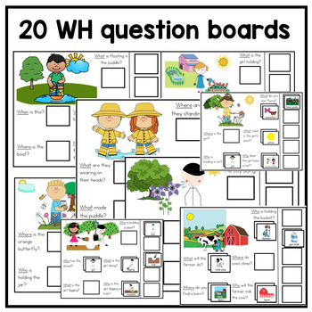 Interactive adapted spring WH Question activities for File Folders and digital