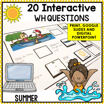 20 Interactive Summer WH Question boards. Autism. File Folders