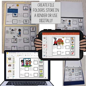 20 Interactive WH Question boards. Autism. File Folders. A.