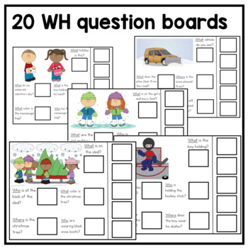 20 Interactive Winter WH Question boards. Autism. File Folders.
