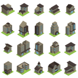 20 Isometric Buildings Icons (Vol.1.)