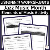 Jazz Music Month Listening Worksheets