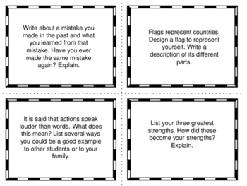 20 Journal Prompts on Task Cards (Free)