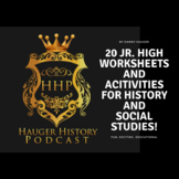 20 Jr High History Worksheets, Activities, Projects, and Social Studies Homework
