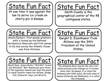 20 Kansas State Fact Flashcards. 1st Grade-7th Grade