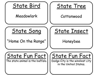 20 Kansas State Fact Flashcards. 1st Grade-7th Grade