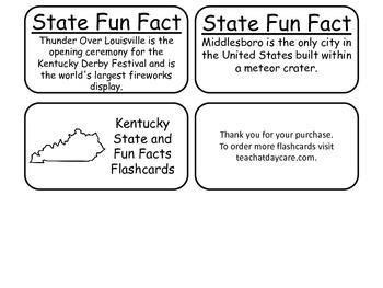 20 Kentucky State Fact Flashcards. 1st Grade-7th Grade