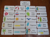 20 Laminated Beach themed Flash Cards.  Preschool Picture Word Card