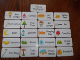 20 Laminated Camping themed Flash Cards.  Preschool Picture Word Card