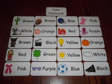 20 Laminated Daycare Colors Flash Cards.  Preschool Picture Word Cards.
