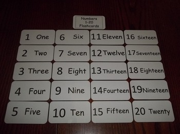 20 Laminated Daycare Numbers 1-20 Flash Cards.  Preschool