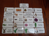 20 Laminated Desert Animal themed Flash Cards.  Preschool Picture Word Card