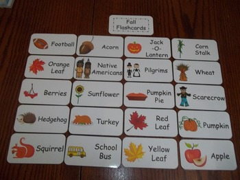 20 Laminated Fall  Flash Cards.  Preschool Picture Word Card