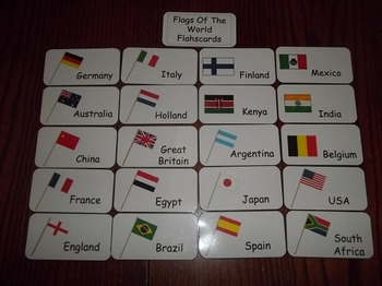 20 Laminated Flags of the World themed Flash Cards.  Preschool Picture Word Card