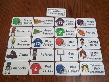 20 Laminated Footbal themed Flash Cards.  Preschool Picture Word Card