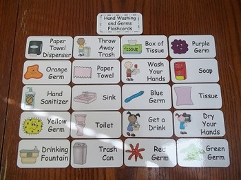 20 Laminated No More Germs Flash Cards.  Preschool Picture Word Card