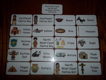 20 Laminated North West Coast and Southwest Natives themed Flash Cards.