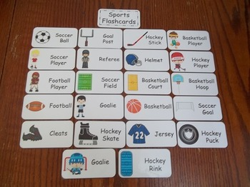 20 Laminated Sports themed Flash Cards.  Preschool Picture Word Card
