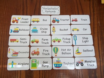 20 Laminated Transportation Flash Cards.  Preschool Picture Word Card