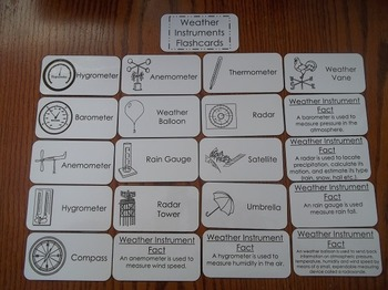 20 Laminated Weather Instruments Flash Cards.   Earth Science Picture Word Card