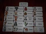 20 Laminated Zoo Animal themed Flash Cards.  Preschool Ani