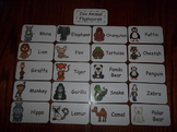 20 Laminated Zoo Animal themed Flash Cards.  Preschool Animal Science Flash Card