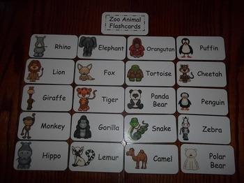 20 Laminated Zoo Animal themed Flash Cards.  Preschool Animal Science Flash Card