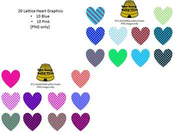 20 Lattice Hearts {Graphics For Personal & Commercial Use}
