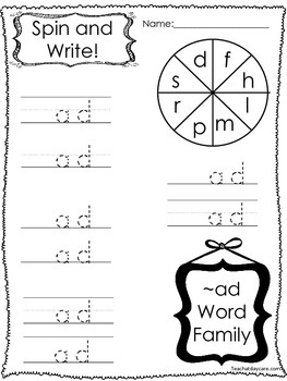 20 Letter A Word Families Spin and Write, Spin and Box Write. Preschool-KDG