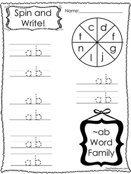 20 Letter A Word Families Spin and Write, Spin and Box Wri