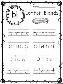 20 Letter Blends Tracing Worksheets. KDG-1st Grade ELA and Phonics.