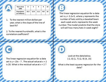 20 Linear Regression Task Cards - Including Correlation Coefficients, Residuals