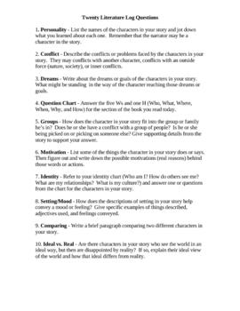 20 Literature Log Questions