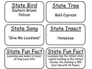 20 Louisiana State Fact Flashcards. 1st Grade-7th Grade