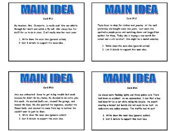 20  MAIN IDEA PRINTABLE ACTIVITY TASK CARDS   Grade 2-3