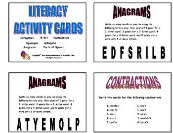20 MIXED LITERACY SKILLS PRINTABLE ACTIVITY TASK CARDS - Set 1   Grades 2-3