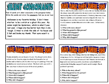 20  MIXED LITERACY SKILLS PRINTABLE  ACTIVITY TASK CARDS - Set 2    Grade 2-3