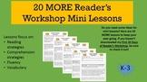 20 MORE Reader's Workshop or Reading Workshop Mini Lessons K-3