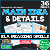 20 Main Idea & Details ELA Reading Drills (63 Questions|Common Core Aligned)