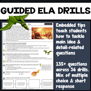 23 Main Idea & Details ELA Reading Drills (72 Questions | Common Core Designed)