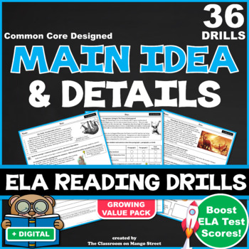 20 Main Idea & Details ELA Reading Drills (63 Questions|Co