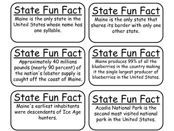 20 Maine State Fact Flashcards. 1st Grade-7th Grade